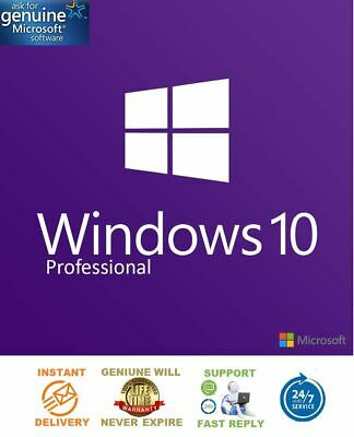 Instant Windows 10 Professional Pro 32|64 Bit Genuine Activation Key License
