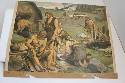 Old Schulwandtafel Wall Chart One Settlement to Younger Stone Age a.Fighting