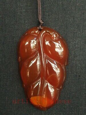 Collection Old Chinese Red Agate Jade Hand Carving Leaf Form Pendant Amule Gift