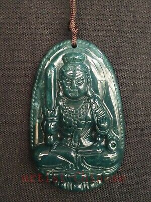 Collection Old Chinese Green Agate Jade Hand Carving Buddha Statue Pendant Amule