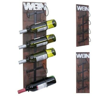 Botellero para Vino HWC-A90,Estante de Pared Portabotellas, Madera Metal 4 o 6