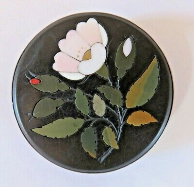Large Antique Victorian Pietra Dura Silver Mounted Brooch Pin Micro Mosaic
