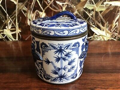 Chinese Covered Dish/Confectionery Dish Blue/White, Hand Painted