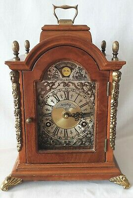 Warmink Dutch 8 Day Mantel Clock With Moon Dial, Rolling Moon Dial