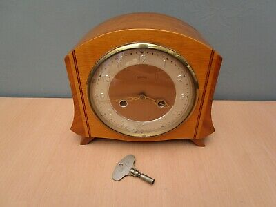 Vintage Smiths Wooden Mantle Clock - With Key