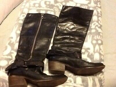 Pied A Terre Womens EU Size 38 Black Leather Knee High rock chick boots
