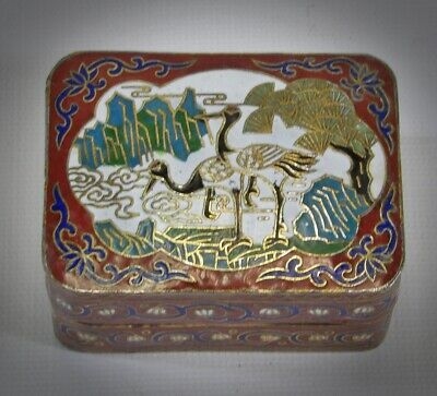 Antique Chinese Cloisonne Small Snuff Box Pill Box Lakeside Crane Bird Scene