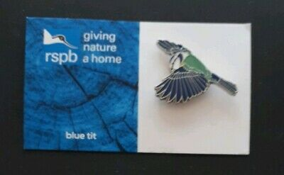 RSPB BLUE TIT FLYING charity pin badge GNAH BRAND NEW DESIGN CARD