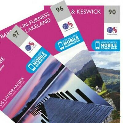 OS LANDRANGER MAP SET - LAKE DISTRICT - 90, 96, 97 - New - Ordnance Survey