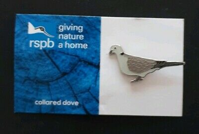 RSPB COLLARED DOVE charity pin badge GNAH BRAND NEW DESIGN CARD