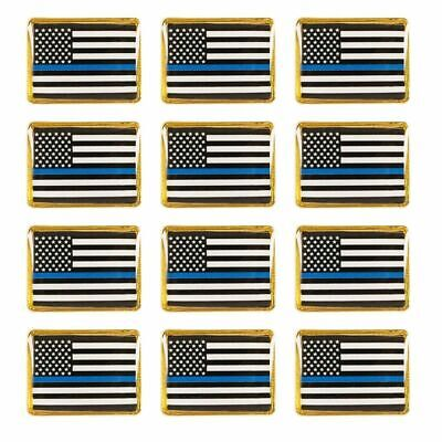 12-Pack American Black Blue Line Flag Police Lapel Pin Gold Frame Rectangle Pins