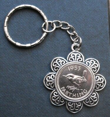 1954 65th birthday Lucky Farthing Pendant Charm key ring a gift box Queen royal