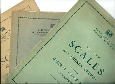 3 Vintage RSM Official Book of Scales & Broken Chords Piano Sheet Music