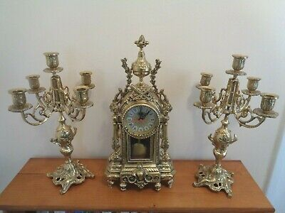 Vintage Solid Ornate Brass French Style Quartz Mantle Clock & Two Candle Holders