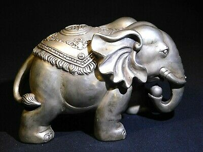 """Lg. Oriental Asian Antique Chinese Silver Elephant Statue 7"""" L X 3 1/2"""" W X 4"""" H"""