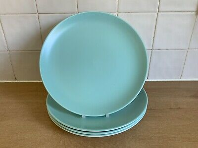 Poole Twintone  Pottery Ice Green & Seagull C57 4 x 25.5 cm Dinner Plates