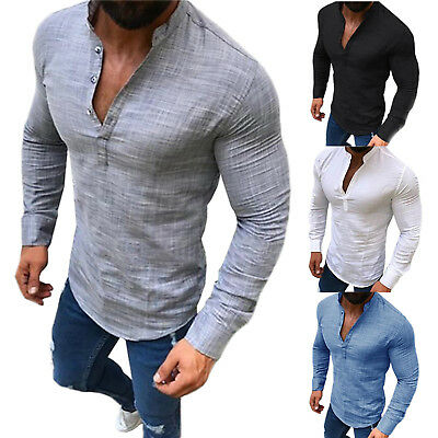 Men Muscle Slim Fit Shirts Casual Henley Stylish Long Sleeve T-shirt Tops Blouse