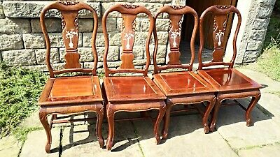Set Of 4 x Mahogany Oriental/Style Dining Chairs with Inlaid Mother of Pearl