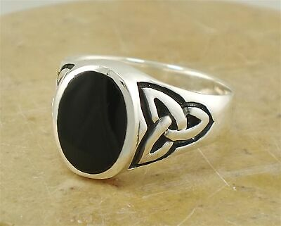 MENS .925 STERLING SILVER CELTIC ONYX RING size 8  style# r1969