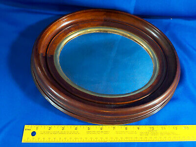 Antique Solid Wood Mirror Picture Frame Oval Cherry/Oak Gold Gilt Shadowbox