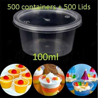 500 set 100ml Plastic Dipping Sauce Disposable Container Cups Lids Takeaway NEW