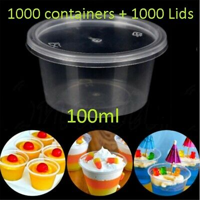 1000 set 100ml Plastic Dipping Sauce Disposable Container Cups Lids Takeaway NEW