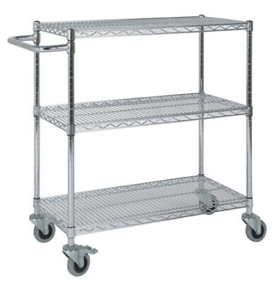 Chrome Wire Shelving Catering Trolley - H915mm x D610mm x W915mm