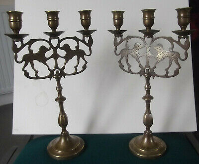 Beautiful Pair Of Antique Brass Triple Candlesticks With Decorative Cut Design