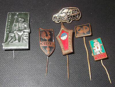 Vintage Soviet Era Metal / Enamel Badges / Stick Pins -Riga, Leningrad, Car, Etc