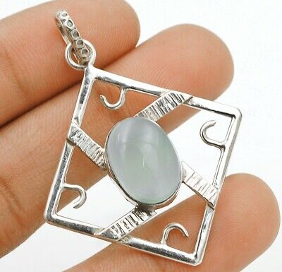 Charming Design Aqua Chalcedony 925 Solid Sterling Silver Pendant Jewelry C30-6
