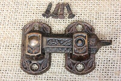 Interior shutter latch cabinet catch old cast iron vintage flowers reversible