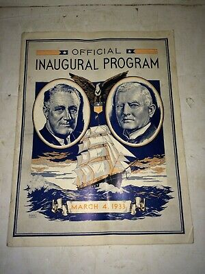 Vintage 1930s 1933 Franklin D. Roosevelt FDR Official Inaugural Program Magazine