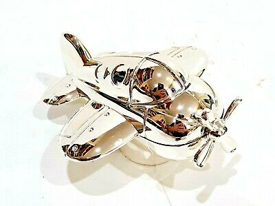 Reed & Barton Silver Plated Zoom Zoom Musical Music Box Airplane Plane # 2620