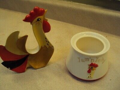 Vintage Holt Howard Rooster Jelly/Jam Jar and Spoon Rest Collectible