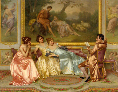 Victorian dating scene Oil painting Canvas Giclee Art HD Print L1098