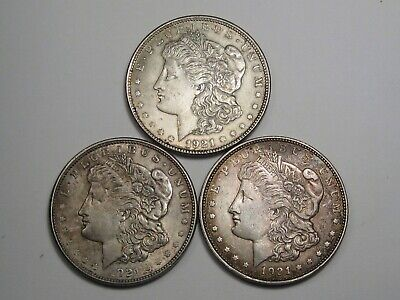3 Silver Morgan Dollars: 1921 & 1921-d (2).  #19