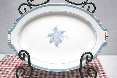 "RARE! Narumi China OCCUPIED Japan RHAPSODY Blue Lily Oval 13"" Platter Mint!"
