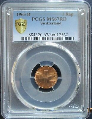 MS-67 Red PCGS BU 1963 B Switzerland Bronze 1 Rap UNC Uncirculated  # 446