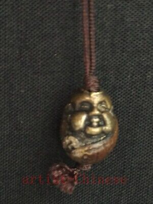 Collection Chinese Old Bronze Hand Carved Lad Buddha Statue Netsuke Pendant