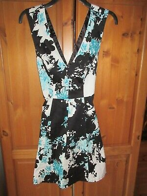 French Connection Ladies Sea Green & Black Dress Crossover Back Straps Size 8