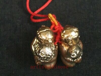 Collection Chinese Old Bronze Hand Carved Lovely Boy Girl Statue Netsuke Pendant