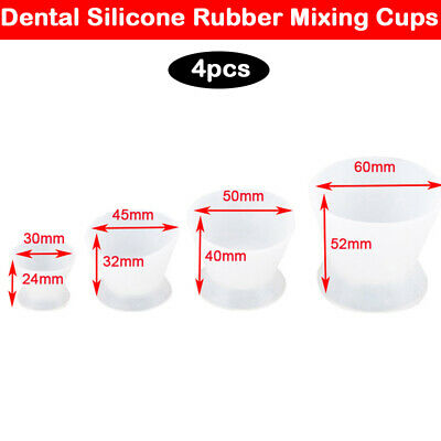 Dental Lab Non-Stick Flexible Silicone Dappen Dish Mixing Bowl Cup 4 Pcs/Set