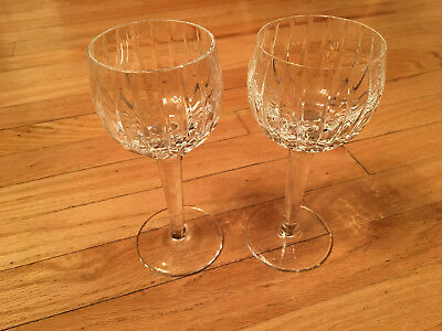 Genuine Crystal Beveled Wine Glass Set Hand Cut & Blown & Signed