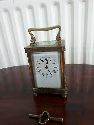 Miniature Carriage Clock Antique French Movement Glass Brass