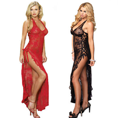 Plus Size Womens Sexy Lace Long Dress Ladies Casual Lingerie Nightwear Sleepwear