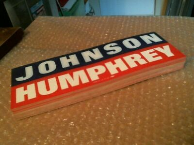 "Lot Of 50 ""Johnson - Humphrey"" Original Vintage Campaign Bumper Stickers - 1964"