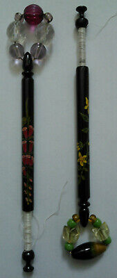 Two Floral Wooden Laquered Painted Lacemaking Bobbins