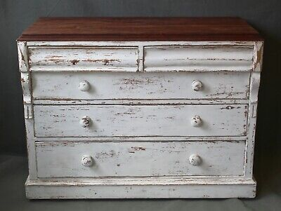 antique pine chest of drawers painted upcycled shabby chic