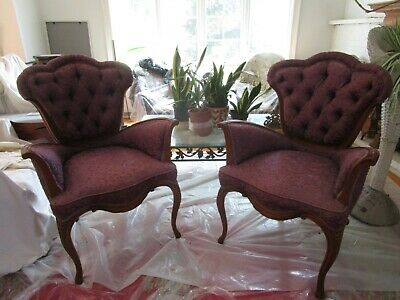 Pair Of Vintage French Plum Colored Upholstered Chairs
