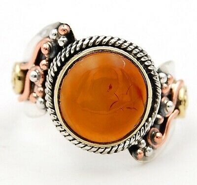 Three Tone Natural Carnelian 925 Solid Sterling Silver Ring Jewelry Sz 7, C31-1